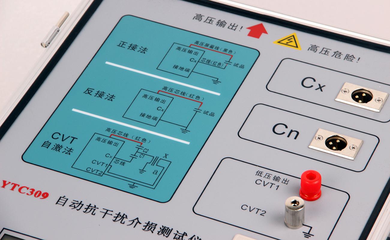 YTC309介质损耗测试仪面板图